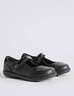 Kids' Freshfeet™ Scuff resistant Coated Leather School Shoes, BLACK, catlanding