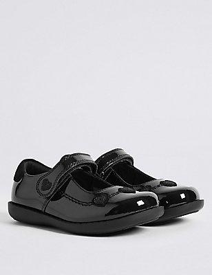 Kids' Leather Standard Fit School Shoes - Half Sizes Available, BLACK, catlanding