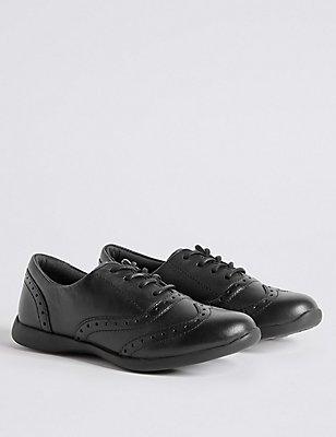 Kids' Leather Freshfeet™ Brogue School Shoes, BLACK, catlanding