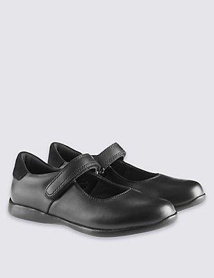Kids' Freshfeet™ Leather Cross Bar School Shoes, BLACK, catlanding