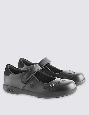 Kids' Leather Freshfeet™ Cross Bar Shoes, BLACK, catlanding