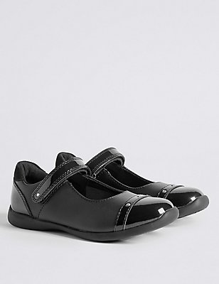 Kids' Freshfeet™ Cross Bar School Shoes, BLACK, catlanding