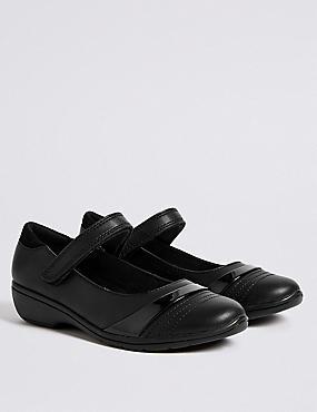 Kids' Leather School Shoes with Freshfeet™, BLACK, catlanding