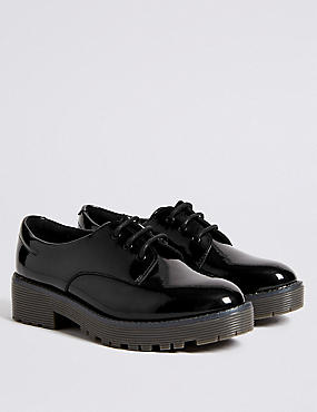 Kids' Lace-up School Shoes with Freshfeet™, BLACK, catlanding
