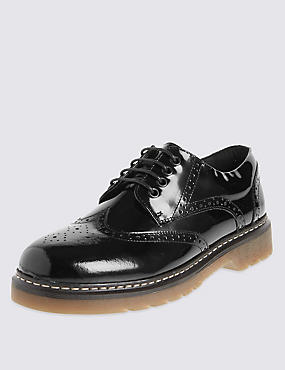 Kids' Freshfeet™ Coated Leather School Brogues Shoes with Silver Technology, BLACK, catlanding