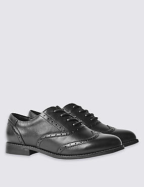 Kids' Leather Standard Fit School Shoes - Whole Sizes, BLACK, catlanding