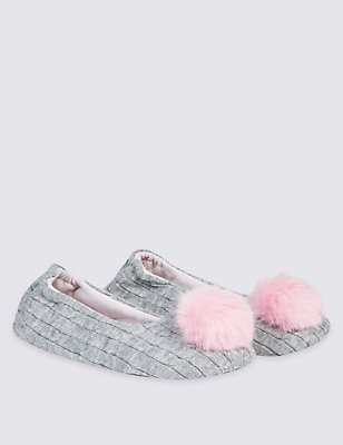 Kids' Pom Ballerina Slippers, GREY, catlanding