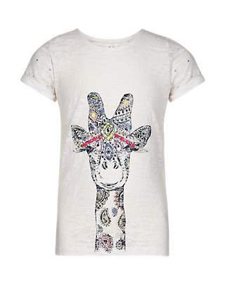 Giraffe Print Burnout T-Shirt Clothing