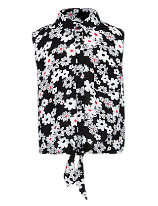Tie Front Floral Girls Blouse (5-14 Years) Clothing