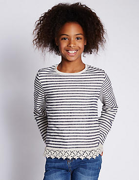 Pure Cotton Striped Top (5-14 Years)