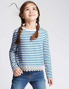 Pure Cotton Striped Sweatshirt (3-14 Years), BLUE MIX, catlanding