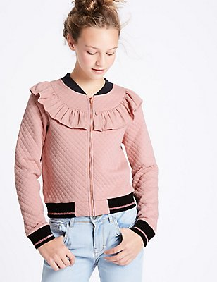 Cotton Rich Bomber Jacket (3-14 Years), ANTIQUE ROSE, catlanding