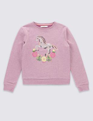 """Свитшот с вышивкой """"Лошадка"""" для девочки 5-14 лет T741001G"""