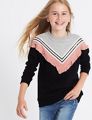 Frill Detail Sweatshirt (3-14 Years), BLACK MIX, catlanding