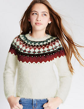 Embroidered Eyelash Jumper (5-14 Years), CREAM MIX, catlanding
