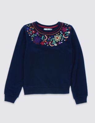 Свитшот с многоцветной вышивкой для девочки 5-14 лет