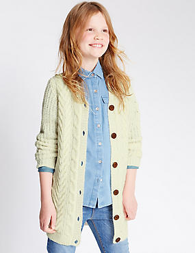 Long Sleeve Textured Cardigan (5-14 Years), CREAM, catlanding
