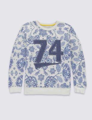 Свитшот с цветочным принтом и номером для девочки 5-14 лет от Marks & Spencer