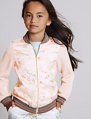 Cotton Rich Printed Bomber Jacket (3-14 Years), CORAL MIX, catlanding