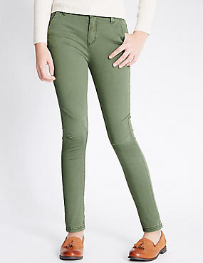 Cotton with Stretch Skinny Fit Jeans (5-14 Years), KHAKI, catlanding