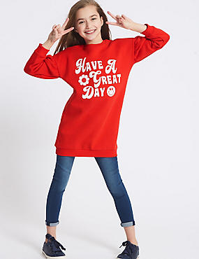 Cotton Rich Have A Great Day Sweatshirt (3-16 Years), POPPY, catlanding