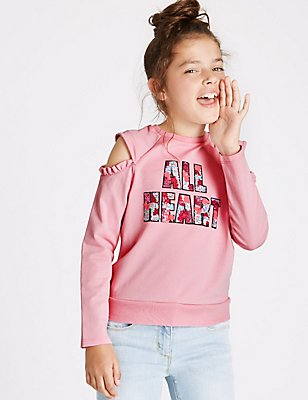 Cotton Rich Sequin Sweatshirt (3-14 Years), MEDIUM PINK, catlanding