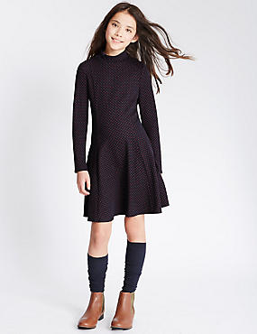 Textured High Neck Dress (5-14 Years), NAVY, catlanding
