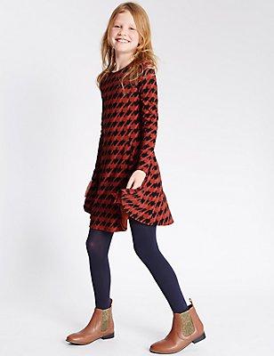Cotton Rich Dogtooth Dress (5-14 Years), PINK MIX, catlanding