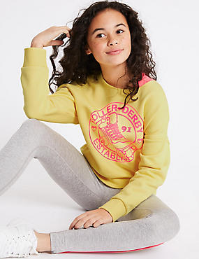 Slogan Sweatshirt (3-16 Years), YELLOW MIX, catlanding