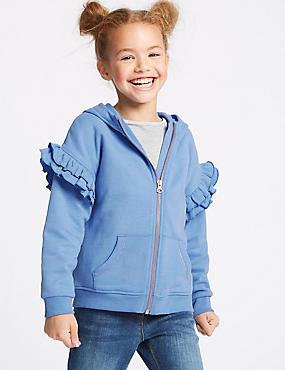 Frill Sleeve Hooded Sweatshirt (3-16 Years), BLUE, catlanding