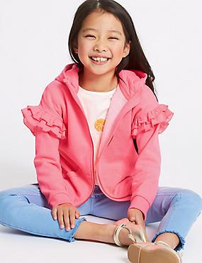 Cotton Blend Hooded Sweatshirt (3-16 Years), PINK, catlanding
