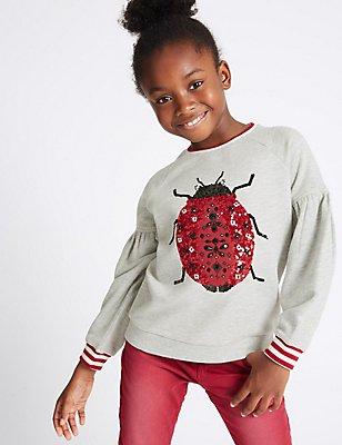 Cotton Rich Sequin Ladybird Sweatshirt (3-14 Years), GREY MARL, catlanding