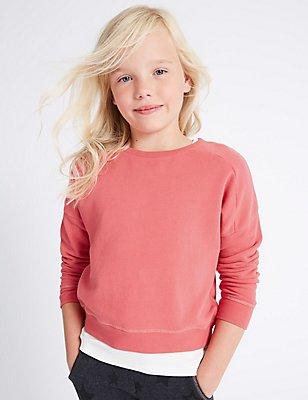 Long Sleeve Sweatshirt (3-14 Years), DARK PINK, catlanding