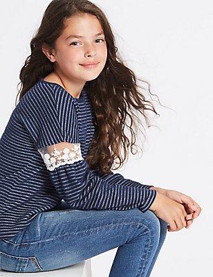 Gestreiftes Sweatshirt mit hohem Baumwollanteil (3–14 Jahre), MARINEBLAU MELANGE, catlanding