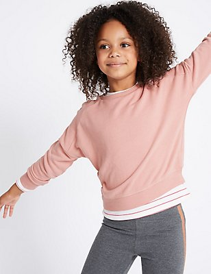 Cotton Rich Long Sleeve Sweatshirt (3-14 Years), LIGHT PINK MIX, catlanding