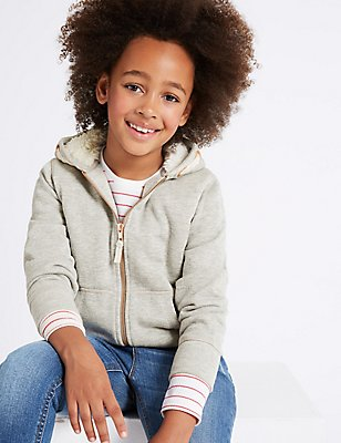 Cotton Rich Hooded Sweatshirt (3-14 Years), LIGHT GREY MIX, catlanding