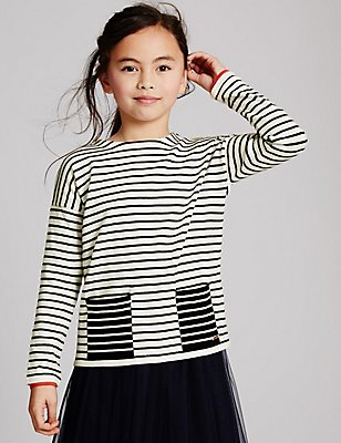 Pure Cotton Striped Jumper (3-14 Years), DARK NAVY MIX, catlanding