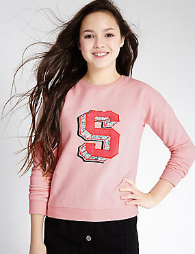 Cotton Rich Sweatshirt (3-14 Years), PINK, catlanding