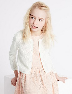 Pure Cotton Pointelle Cardigan (3-14 Years), WINTER WHITE, catlanding