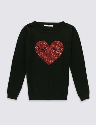 Джемпер из чистого хлопка с сердечком из пайеток для девочки 3-14 лет