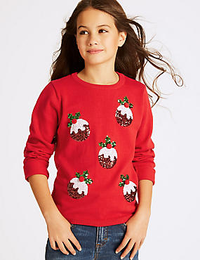 Pure Cotton Christmas Jumper (4-14 Years), MULTI, catlanding