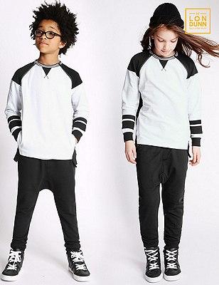 Pure Cotton Unisex Raglan Sleeve Sweatshirt (5-16 Years), WHITE/BLACK, catlanding