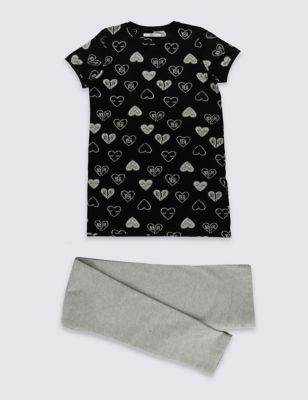 """Комплект """"Разбитое сердце"""" с технологией StayNEW™ для девочки 3-14 лет: платье из вискозы с принтом и леггинсы T741121D"""