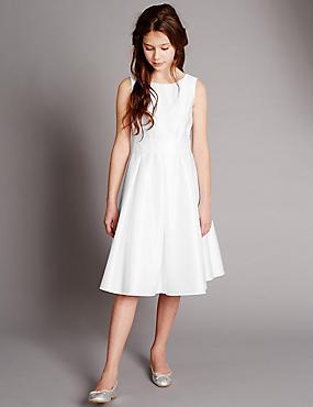 Sleeveless Pleated Belted Dress (5-14 Years), WHITE, catlanding