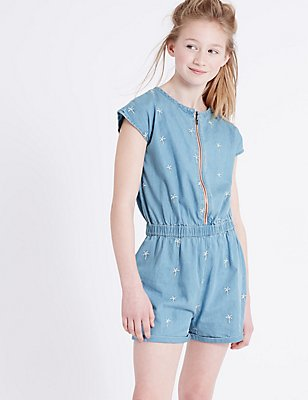Denim Playsuit (3-14 Years), LIGHT DENIM, catlanding