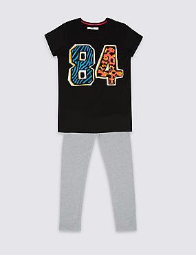 2-teiliges Outfit mit Oberteil und Leggings (3–14 Jahre), SCHWARZ, catlanding