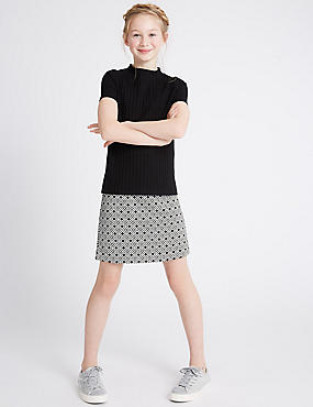 2 Piece Top & Skirt Outfit (3-14 Years), BLACK MIX, catlanding