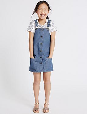 2-teiliges Outfit aus reiner Baumwolle mit T-Shirt und Schürzenkleid (3–14 Jahre), MITTELBLAU DENIM, catlanding