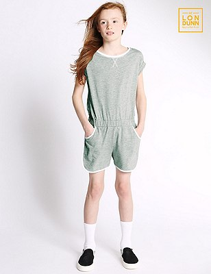 Short Sleeve Girls' Playsuit (5-16 Years), GREY, catlanding