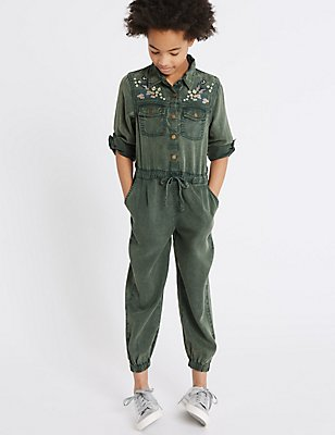 Embroidered Jumpsuit (3-14 Years), KHAKI, catlanding